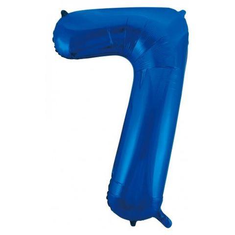 """Decrotex 34"""" Blue Foil Balloon Numeral 7 - Retail Pack Each"""
