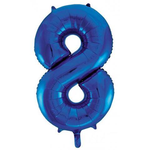 """Decrotex 34"""" Blue Foil Balloon Numeral 8 - Retail Pack Each"""