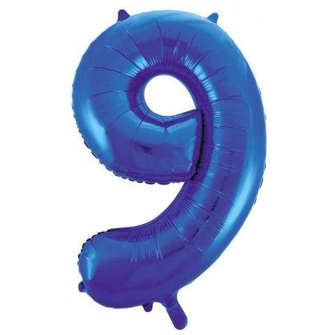 """Decrotex 34"""" Blue Foil Balloon Numeral 9 - Retail Pack Each"""