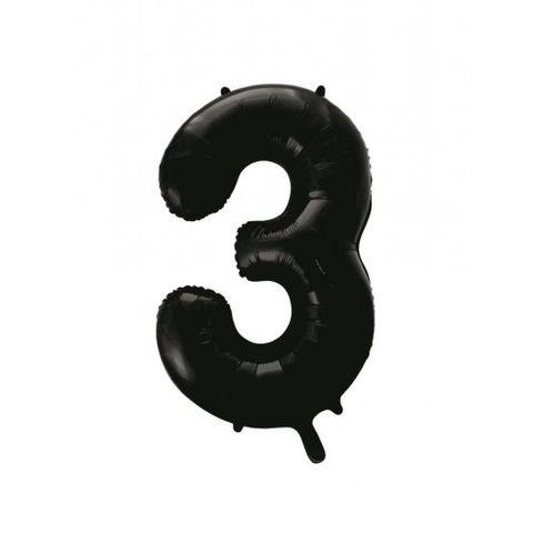 """Decrotex 34"""" Black Foil Balloon Numeral 3 - Retail Pack Each"""