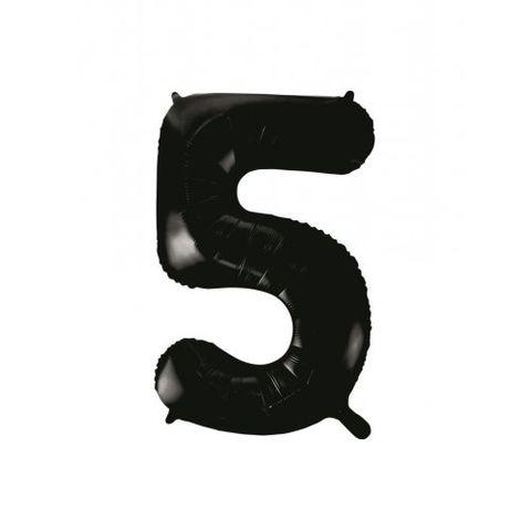 """Decrotex 34"""" Black Foil Balloon Numeral 5 - Retail Pack Each"""