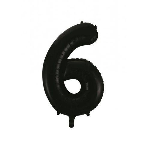 """Decrotex 34"""" Black Foil Balloon Numeral 6 - Retail Pack Each"""