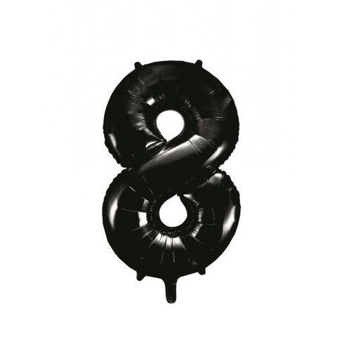 """Decrotex 34"""" Black Foil Balloon Numeral 8 - Retail Pack Each"""