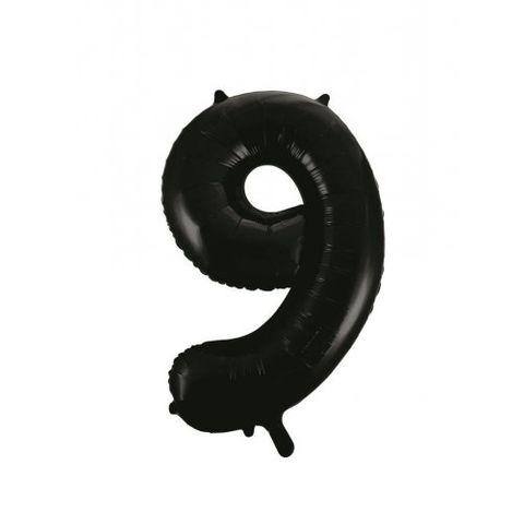 """Decrotex 34"""" Black Foil Balloon Numeral 9 - Retail Pack Each"""