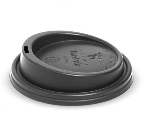 BioPak 8oz / 12oz / 16oz Bio Degradable Cup Lids Black 90mm Diameter - Box of 1,000