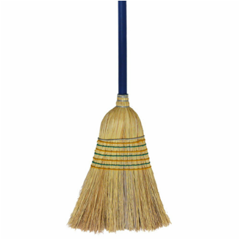 7 Tie Millet Broom Metal Strapped with 25mm Wooden Handle - Each