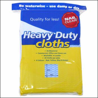 Heavy Duty Blue Antibacterial Cloths 60cm x 60cm - Pack of 20