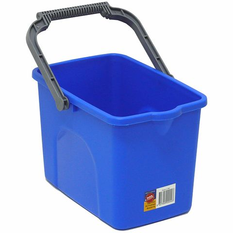 All Purpose Heavy Duty 9L Blue Rectangular Bucket with Ergonomic Handle and Pour Spout - Each