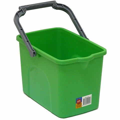 All Purpose Heavy Duty 9L Green Rectangular Bucket with Ergonomic Handle and Pour Spout - Each