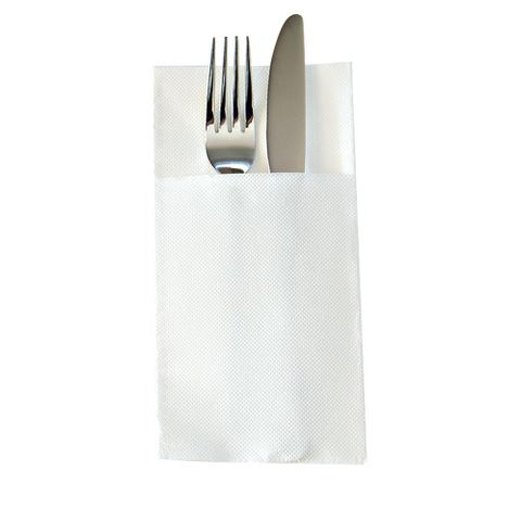 White 2 Ply Quilted Pocket/Cutlery Fold Dinner Serviettes 1/8 GT Fold 400mm x 400mm - Box of 1,000