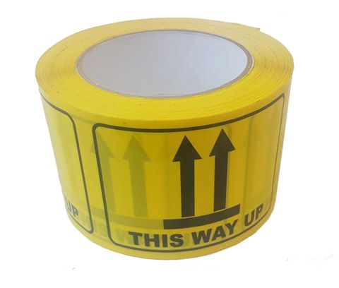 """Printed Rip-A-Labels """"This Way Up"""" 72mm X 100mm Black on Yellow - Roll of 500"""