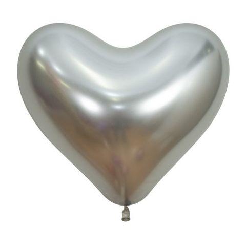 "Decrotex 14"" / 35cm Heart Shaped Reflex Silver Balloons - Retail Pack 50"