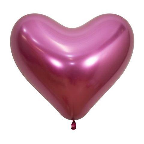 """Decrotex 14"""" / 35cm Heart Shaped Reflex Fuchsia Balloons - Retail Pack 50"""