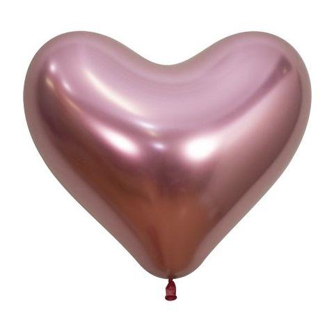 "Decrotex 14"" / 35cm Heart Shaped Reflex Pink Balloons - Retail Pack 50"