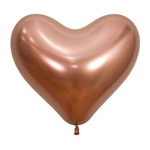 "Decrotex 14"" / 35cm Heart Shaped Reflex Rose Gold Balloons - Retail Pack 50"