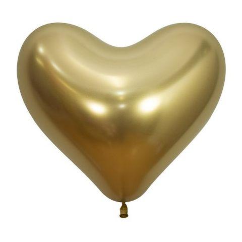 "Decrotex 14"" / 35cm Heart Shaped Reflex Gold Balloons - Retail Pack 50"