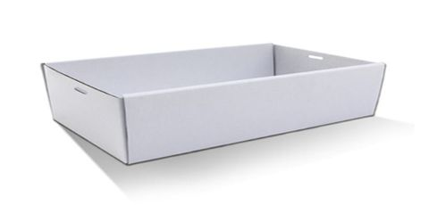 Large White Cardboard Catering Box Bases 563mm(L) x 260mm(W) x 80mm(H) - PACK=10 / BOX=50