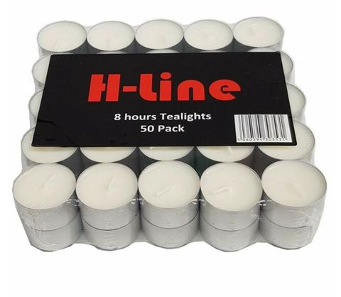 Tea Light Candles 8 Hour Burn Time Smokeless White - PACK=100 / BOX=600