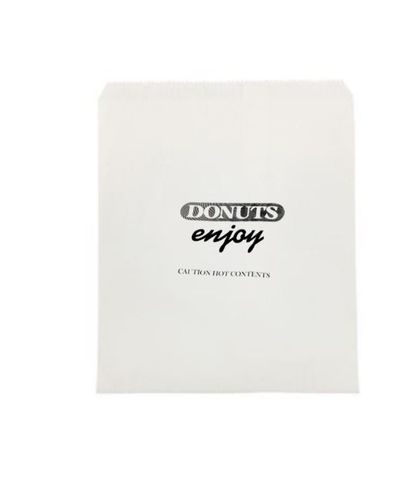 """2 Square White Printed """"Donuts Enjoy"""" Paper Bags 205mm(L) x 207mm(W) - Pack of 500"""
