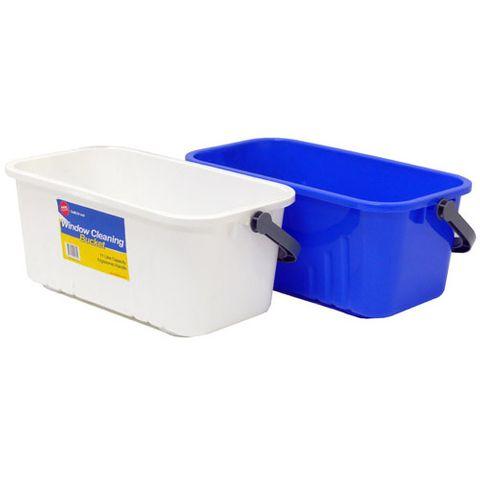 Window Cleaning Bucket 11L Blue Chemical Resistant Ergo Plastic 19cm x 42cm x 23cm - Each