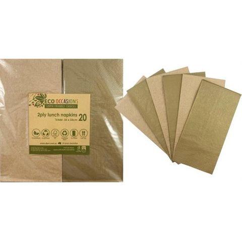 Alpen Paper Kraft Lunch Napkin Metalic Gold - Retail Pack of 20
