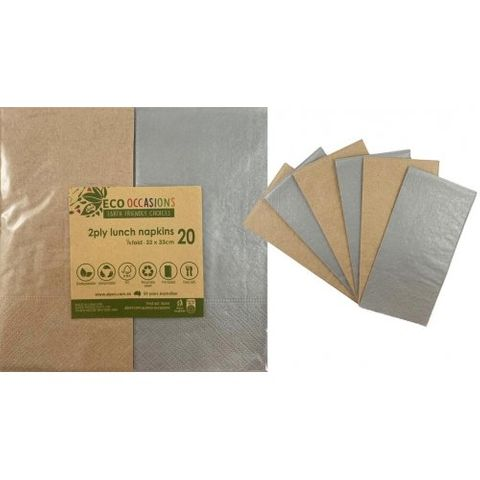 Alpen Paper Kraft Lunch Napkin Metalic Silver - Retail Pack of 20