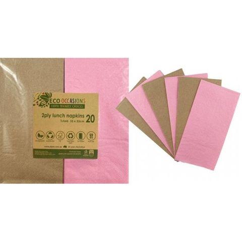 Alpen Paper Kraft Lunch Napkin Pink - Retail Pack of 20