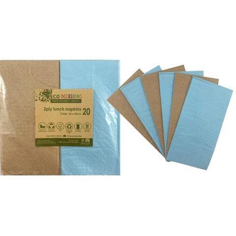 Alpen Paper Kraft Lunch Napkin Blue - Retail Pack of 20