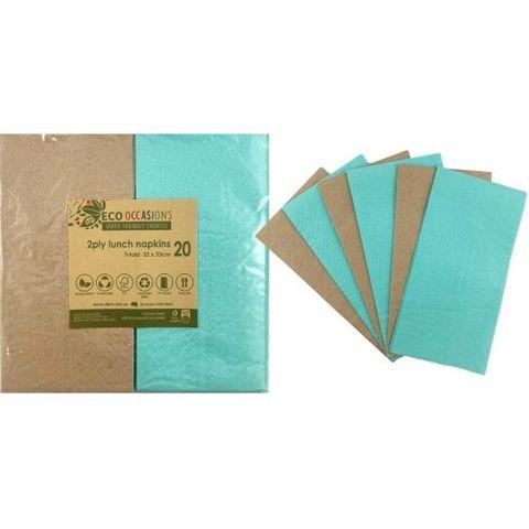Alpen Paper Kraft Lunch Napkin Mint - Retail Pack of 20