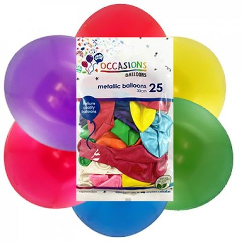 Metallic 30cm Balloons in Assorted Colours - Retail Pack of 25