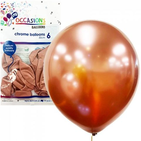 Chrome Balloon 30cm Rose Gold - Retail Pack of 6