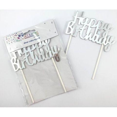 Cake Topper Happy Birthday Metallic Silver - Retail Pack Each