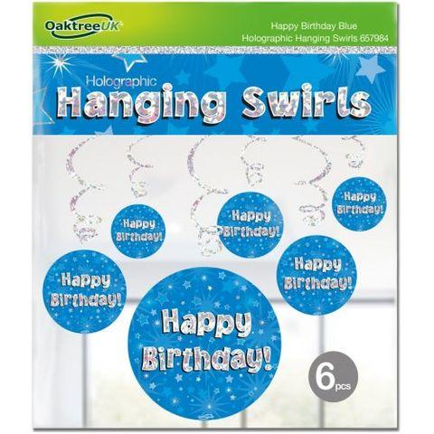Hanging Swirl Holographic Happy Birthday Blue - Retail Pack 6