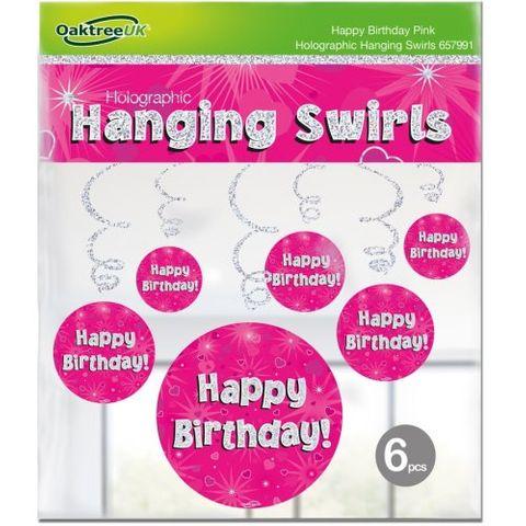 Hanging Swirl Holographic Happy Birthday Pink - Retail Pack 6