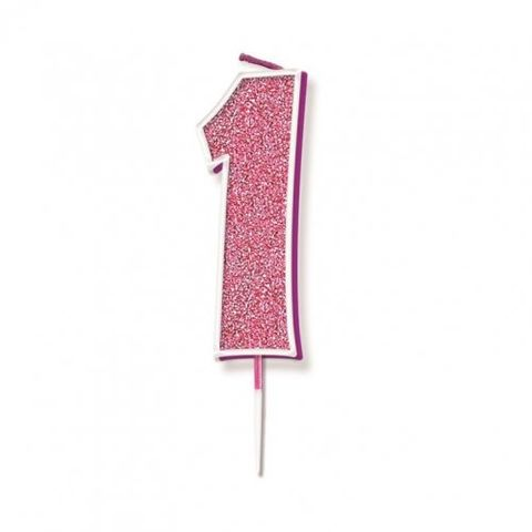 Candle Glitter Pink Numeral 1 - Retail Pack Each