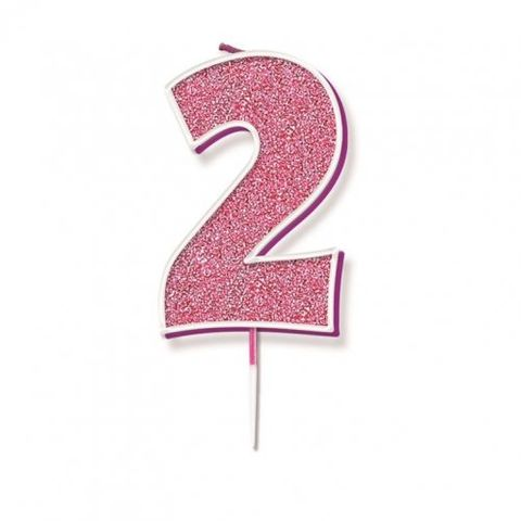 Candle Glitter Pink Numeral 2 - Retail Pack Each