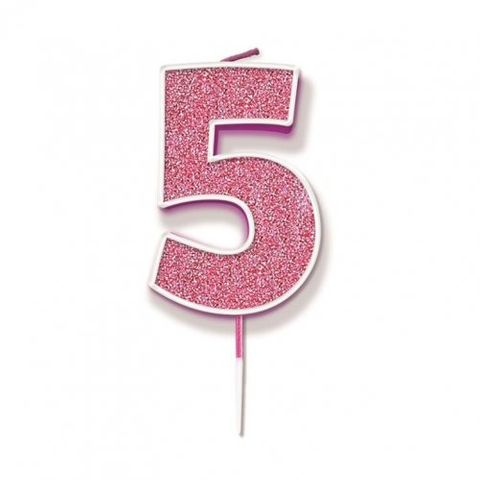 Candle Glitter Pink Numeral 5 - Retail Pack Each