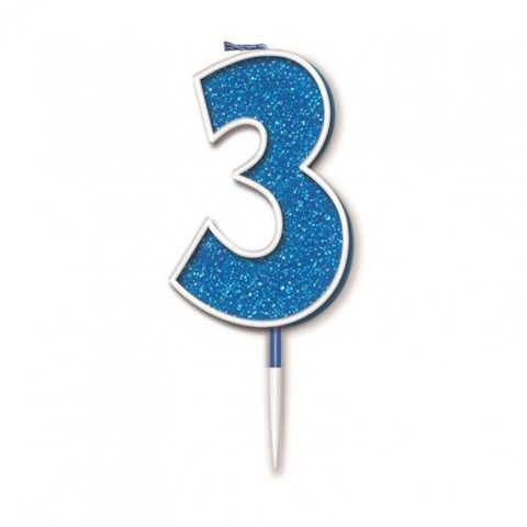 Candle Glitter Blue Numeral 3 - Retail Pack Each