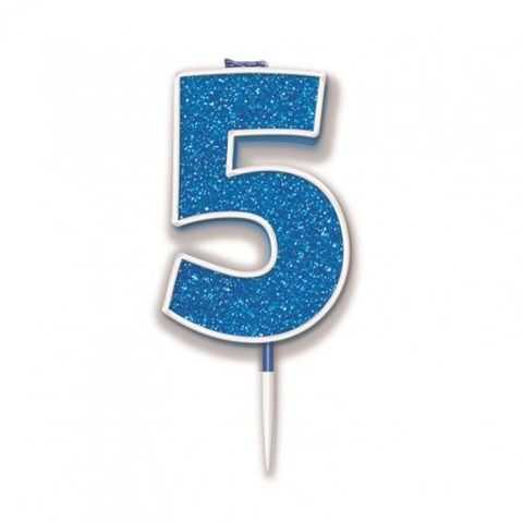 Candle Glitter Blue Numeral 5 - Retail Pack Each