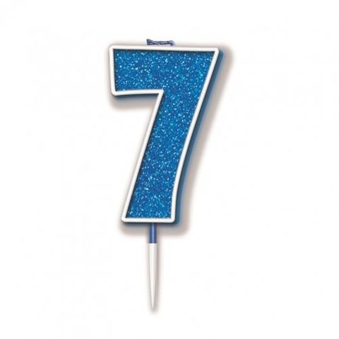 Candle Glitter Blue Numeral 7 - Retail Pack Each