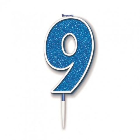 Candle Glitter Blue Numeral 9 - Retail Pack Each