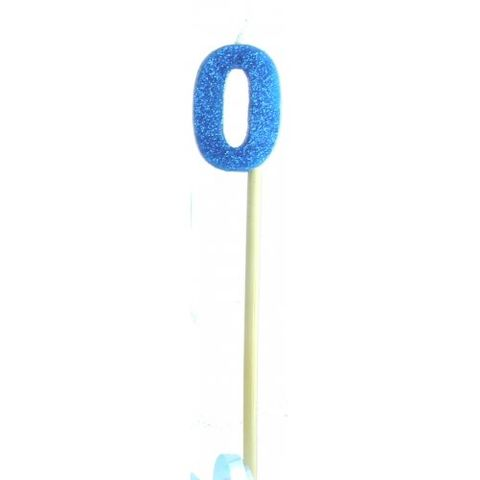 Candle Blue Glitter Long Stick Numeral 0 - Retail Pack Each