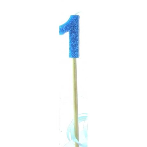 Candle Blue Glitter Long Stick Numeral 1 - Retail Pack Each