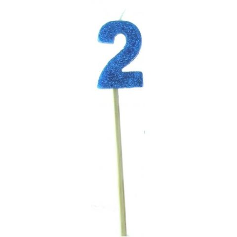 Candle Blue Glitter Long Stick Numeral 2 - Retail Pack Each