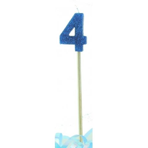 Candle Blue Glitter Long Stick Numeral 3 - Retail Pack Each
