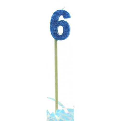 Candle Blue Glitter Long Stick Numeral 6 - Retail Pack Each