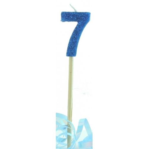 Candle Blue Glitter Long Stick Numeral 7 - Retail Pack Each