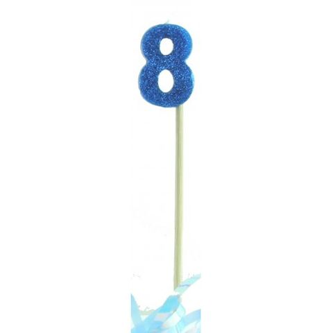 Candle Blue Glitter Long Stick Numeral 8 - Retail Pack Each