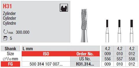 Edenta FG Tungsten Carbide Cylinder H31/010