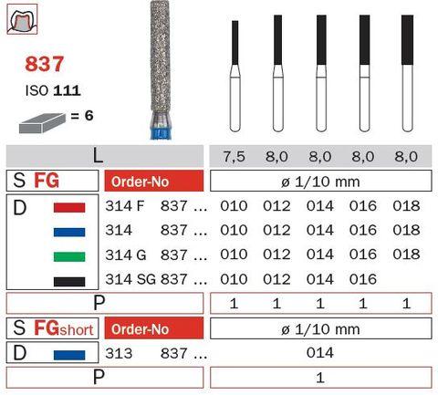 Diaswiss FG S/Shank X-Long F/Fissure 837L/014 Med